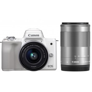 Canon EOS M50 15-45 IS STM + 55-200 IS STM (White)
