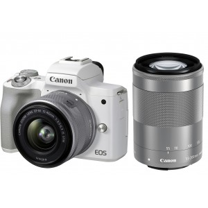 Canon EOS M50 Mark II 15-45 IS STM + 55-200 IS STM (White)