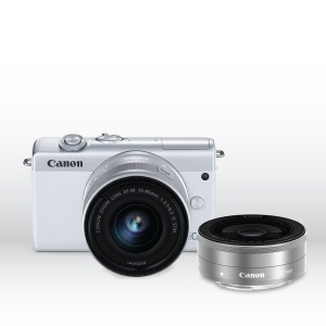 Canon EOS M200 15-45mm IS STM + EF-M 22mm STM (White)